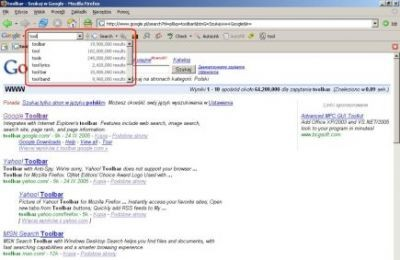 Google Toolbar - funkcja Google Suggest