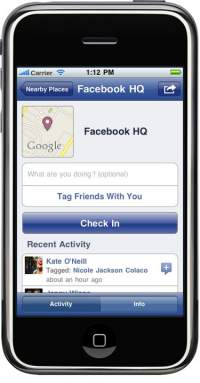 Facebook Places na telefonie iPhone