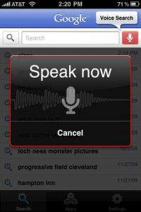 Voice Search w wersji na iOS