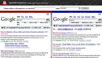 530f5b2684838 Porównanie wyników wyszukiwania dla słowa freedom (wolność). Po lewej  stronie Google.cn